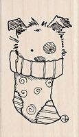 Christmas Puppy In Stocking, Wood Mounted Rubber Stamp Inkadinkado New, 60-01338
