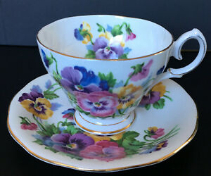 Vintage-Queen-Anne-Spring-Melody-Pansies-Cup-And-Saucer-Set-5-Available