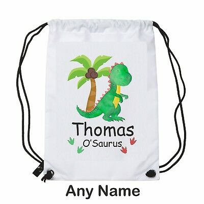 Choice of Colours* Personalised Dinosaur//T Rex School Book Bag *ANY NAME
