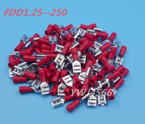 1000Pcs Red FDD1.25-250 6.3mm16-22AWG Insulated Female Spade Wire Crimp Terminal