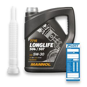 5l mannol longlife mn7715 o e m 5w 30 motor l vw abf llschlauch ebay. Black Bedroom Furniture Sets. Home Design Ideas