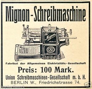 Macchina da scrivere MIGNON insegne 1907 UNION GmbH Berlino Friedrich segmento Pubblicità