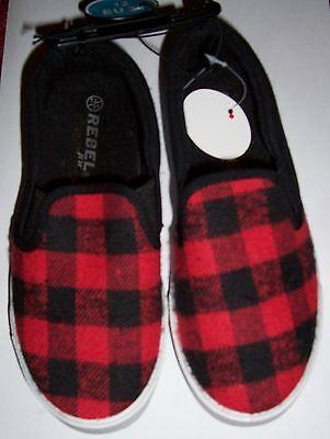 Chicos Rojo O Gris Tartan Plimsoll Zapatos