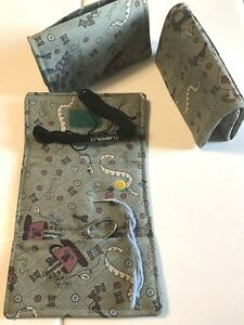 Handmade PINS & NEEDLES cotton fabric scissor, sewing notion, pincushion wallet