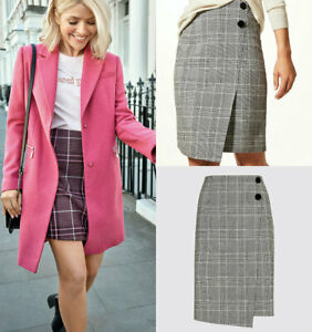 M-amp-S-Marks-Spencer-Womens-Tweed-Checked-Wrap-Button-Black-Mini-Skirt-3-Lengths