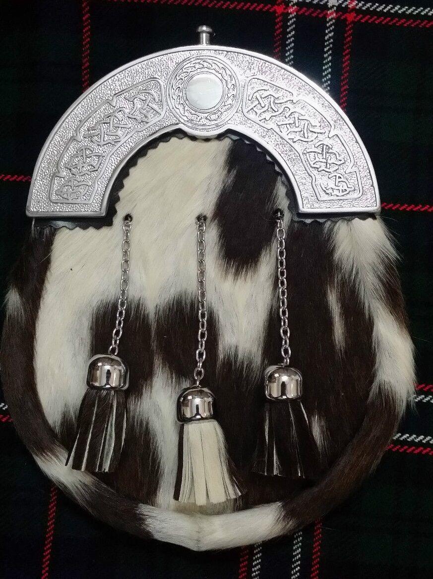 Mens Kilt Sporran White & Black Bovine Celtic Cantle Full Dress Leather Sporrans