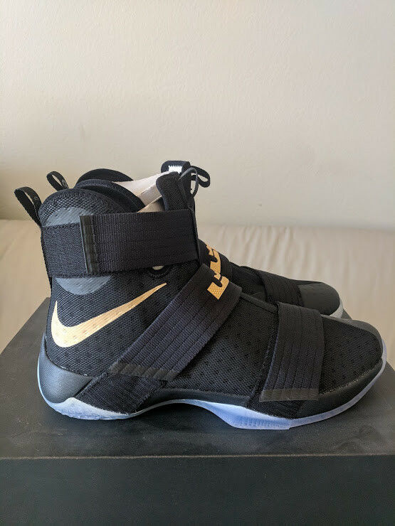 huge discount 88e06 dcc42 NIKE iD ZOOM LEBRON SOLDIER 10 CHAMPIONSHIP BLACK gold gold gold SZ 13.5  retro equality xv