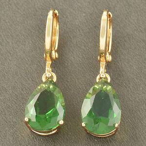 Fashion-yellow-Gold-Filled-Emerald-Womens-TearDrop-lucky-Ear-Dangle-Earrings