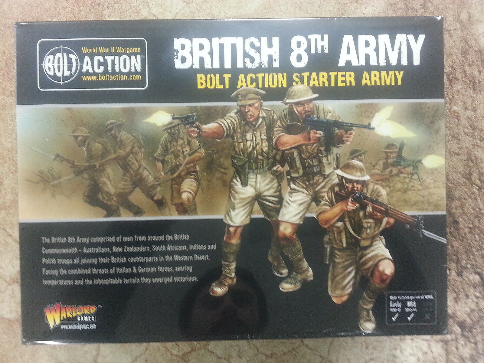 BOLT ACTION BRITISH 8TH ARMY STARTER ARMY - NEW AND SEALED