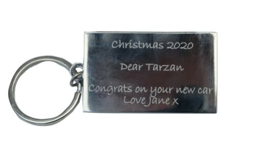 your text on the reverse Keyring with Lamborghini  Motif  Engraved on Front