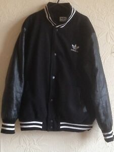 adidas-varsity-Wool-with-leather-Sleeves-Padded-jacket-Small
