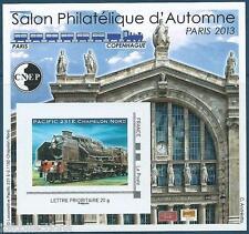 Bloc CNEP 64 Paris 2013 salon d'automne avec timbre locomotive pacific 231E
