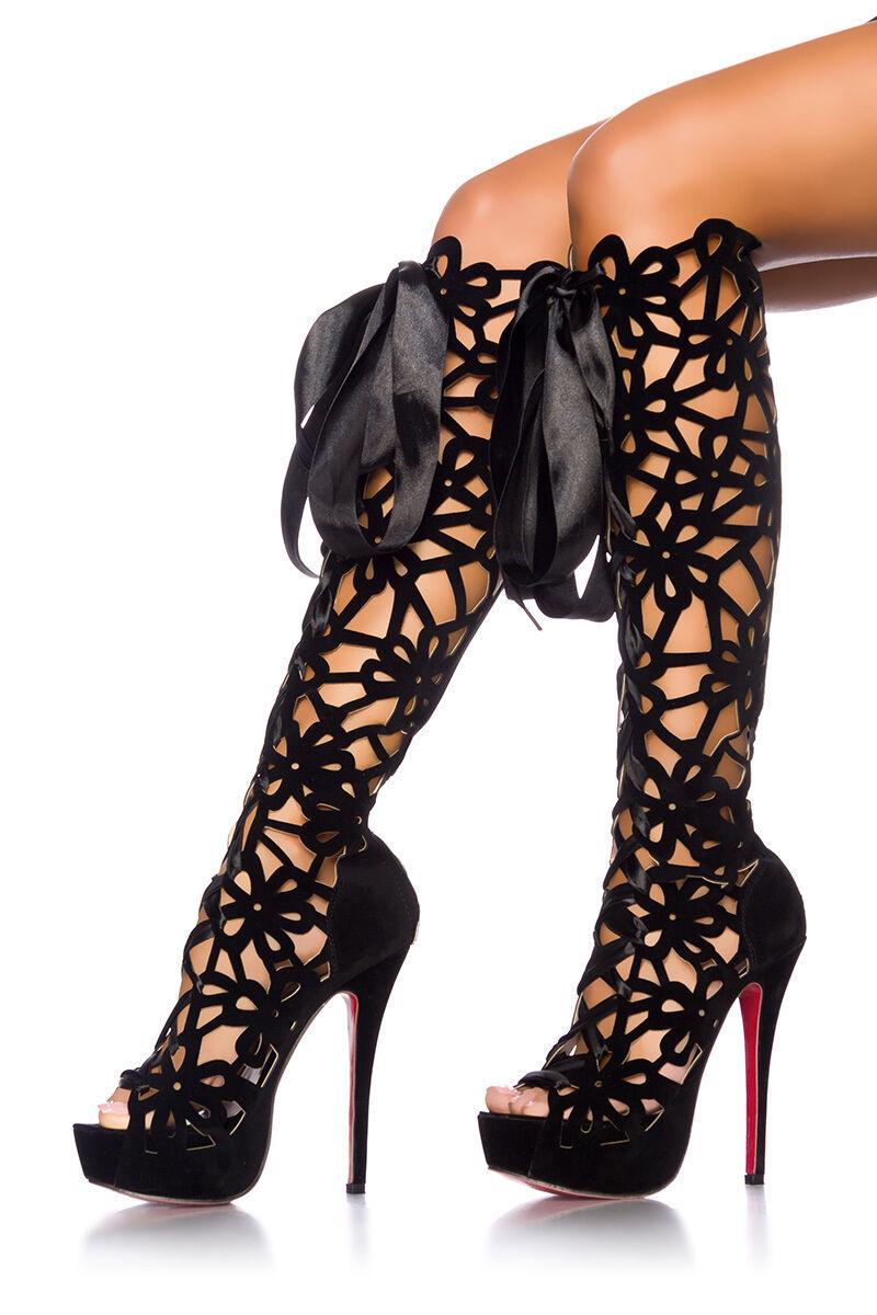 Sexy tacón alto botas 14 cm plataforma rodilla botas señora plataforma-botas 37 - 40