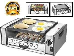 Electric Griller Griddle Hot Dog Roller Toaster Kebabs Maker