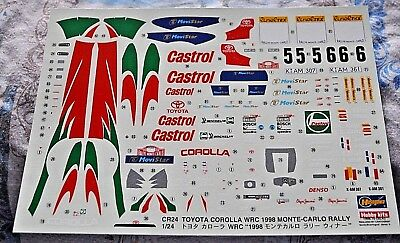 DECALS 1//24 TOYOTA COROLLA WRC 1998 RALLY MONTE CARLO HASEGAWA CR24 CARTOGRAF