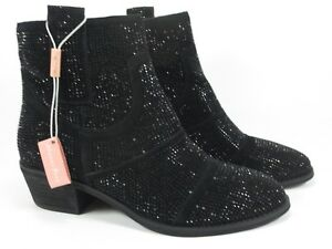 ALMA-EN-PENA-Leder-Schuhe-Glitzer-Boots-schwarz-Gr-40-NEU-Stiefeletten