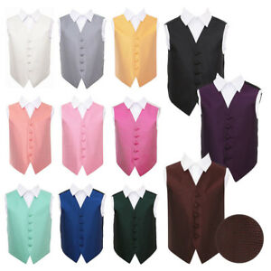 Boys-Waistcoat-Woven-Greek-Key-Formal-Wedding-Vest-FREE-Pocket-Square-by-DQT