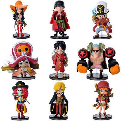 9pcs One Piece Anime The New World Z Luffy Nami Zero Brook pvc mini figure set