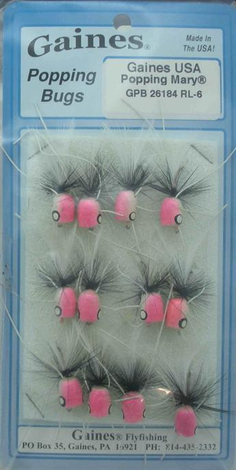 Gaines 26184RL-6 Popping Mary Bug With  Legs Hook Size 6 Popper Card of 12 21394  save up to 50%