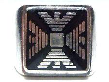 EMPORIO ARMANI TRIBAL AZTEC LIKE BLACK ENAMEL STERLING SILVER MENS RING SZ 9.5