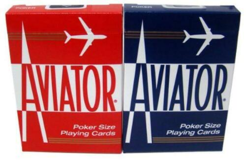 2 Decks Of Bicycle Aviator Standard Poker Casino Playing Cards 1 Red /& 1 Blue