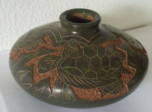 Rare-vintage-pottery-bowl-vase-green-swimming-turtles-ceramic-jade-gorgeous