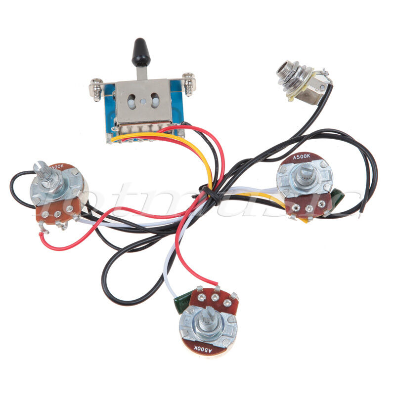 s l1600 left handed electric guitar wiring harness kit 5 way switch 1v2t