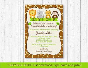 Cute Jungle Safari Animals Printable Baby Shower Invitation Editable