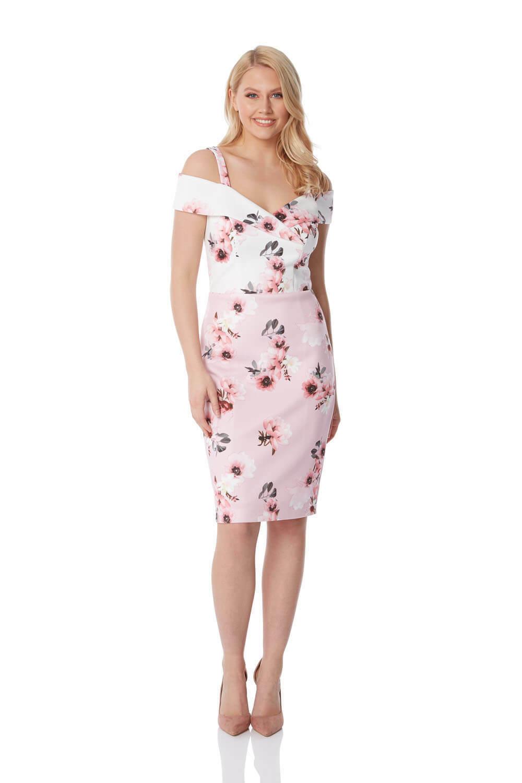 Roman Originals damen Floral Cold Shoudler Scuba Dress