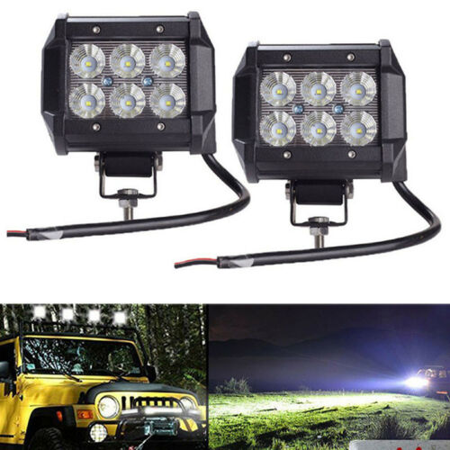 2PCS 18W LED Work Light 4WD Offroad Spot Fog ATV SUV UTE Driving Lamps For Car