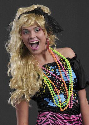 Multi Neon Bead Necklace 80s Costume Accessory Bright Fancy Dress 1980s