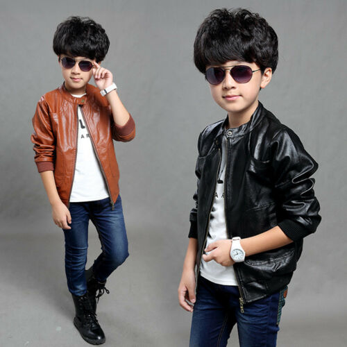 Kids Boys Long Sleeve Jacket Children Parkas PU Leather Coats Overcoat Clothes