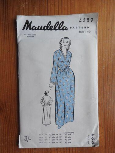 Vintage Maudella sewing pattern 4389 Chemise de nuit avec col en V NOUVEAU non coupée 1960 S