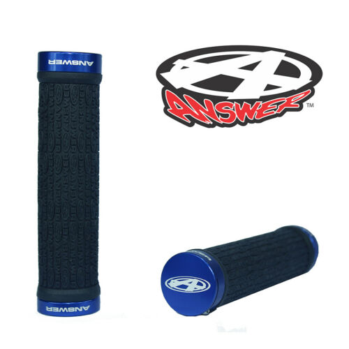 Blue BMX Grips 135mm with Alloy Ends ANSWER Pro Lock-On Flangeless Grips