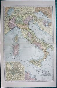 1901 LARGE VICTORIAN MAP- ITALY,INSETS ROME,PALERMO,MESSINA,NAPLES ...