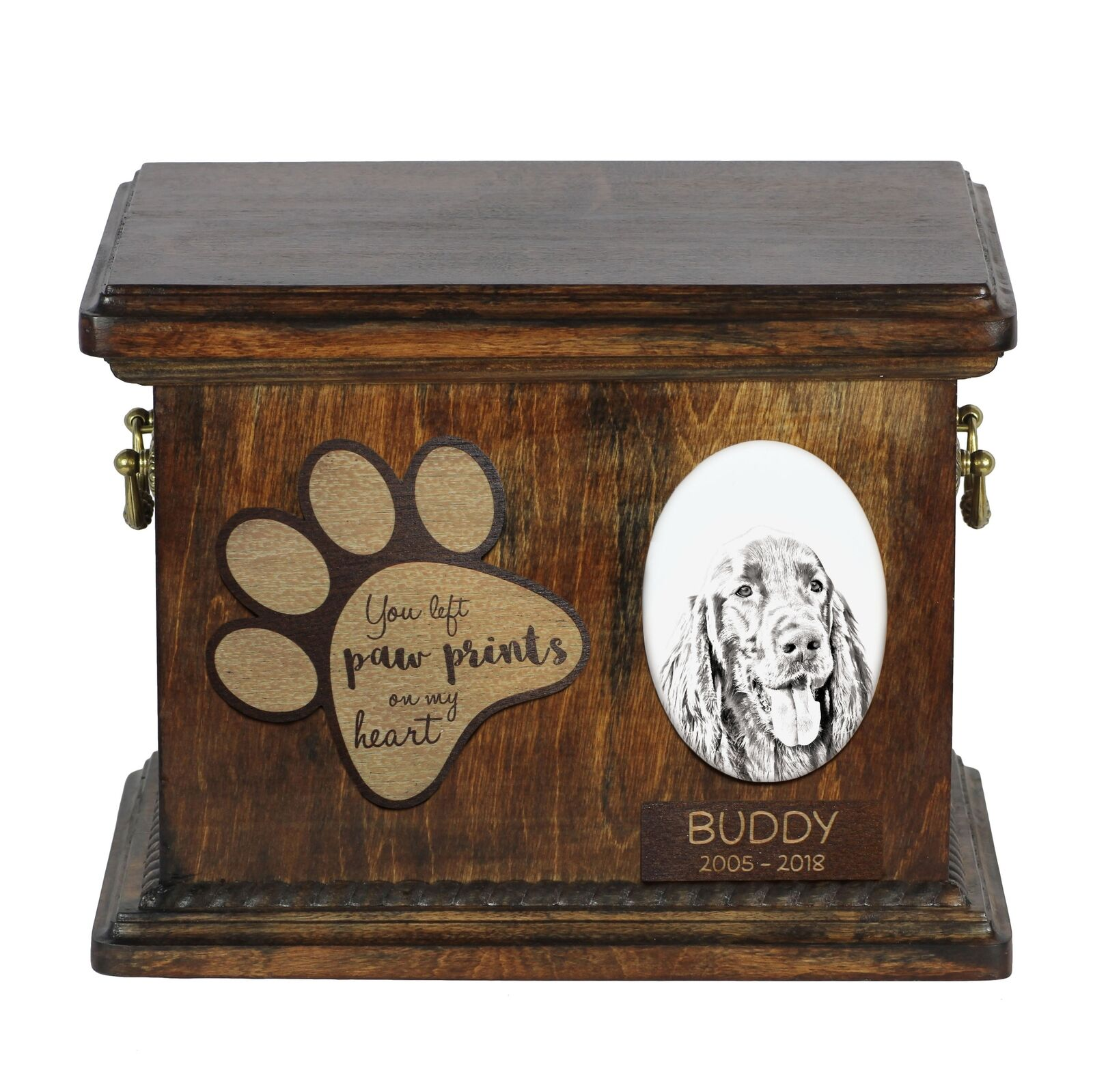 Setter - Urn for dog's ashes with ceramic ceramic ceramic plate and description, Art Dog 67fd54
