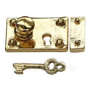 Miniatura-Para-Casa-De-Munecas-1-12-Escala-laton-Caja-cerradura-y-llave