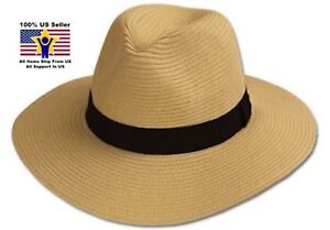 1f408faa Natural Unisex Black Band Panama Paper Straw Hat SPF50 Protection ...