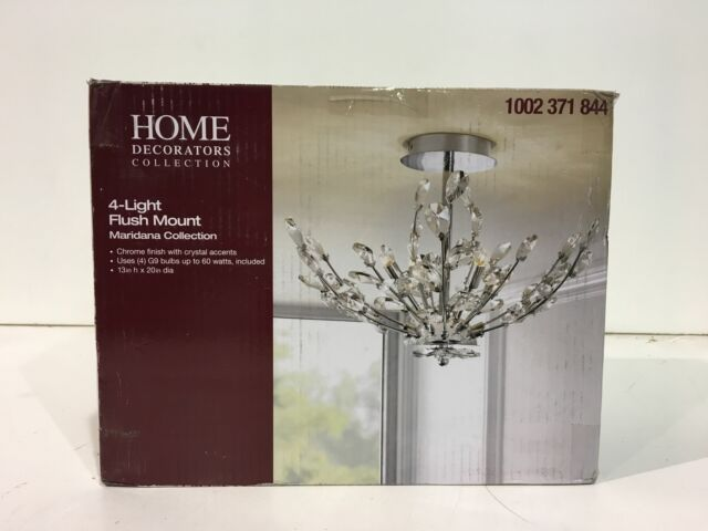 Home Decorators 20 In 4 Light Chrome Semi Flush Mount With Crystal Glass For Sale Online Ebay