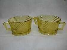 Federal Glass Diana Amber Depression Glass Sugar Creamer Cereal 2 Cr Soup Bowls