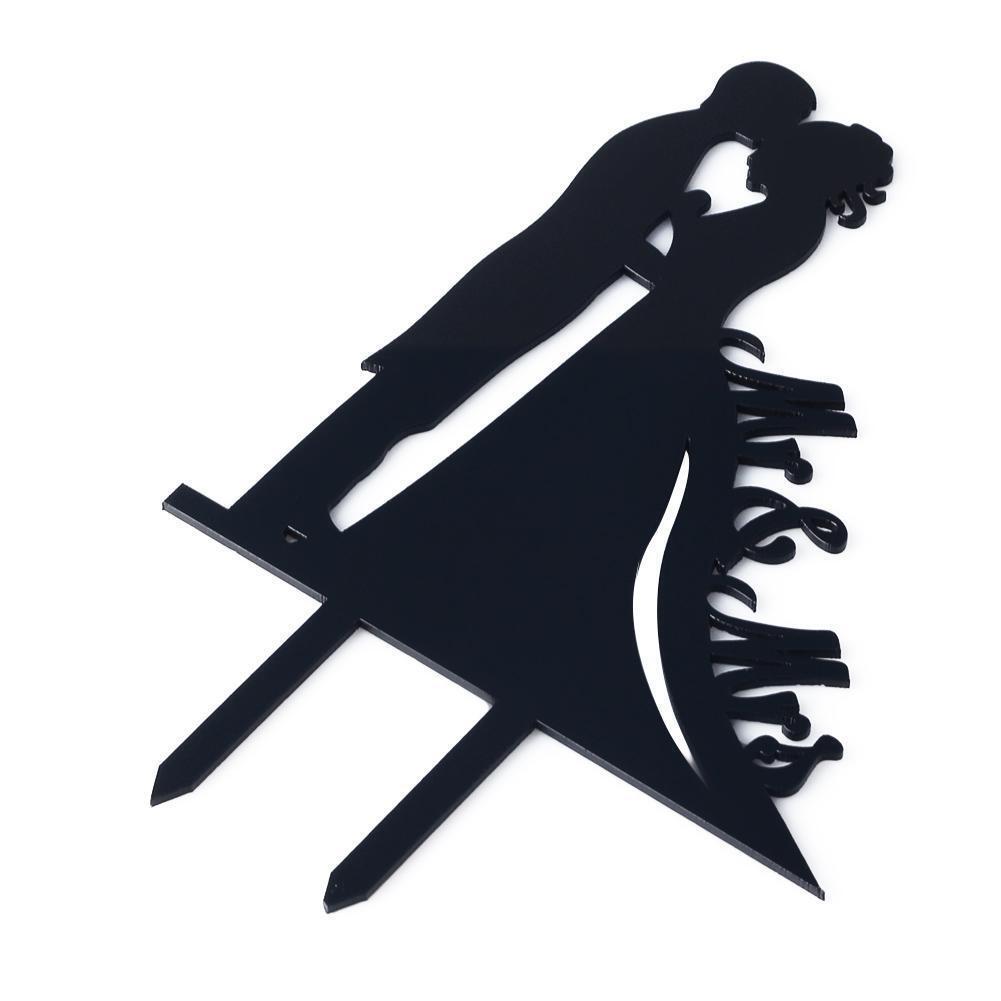 1 Pièce Noir Romantique Figurien pour Gateau Kissing Couple Mariée et Marié