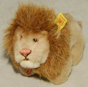 "STEIFF - LEO Lion - Woven Fur / Soft Plush - 8"" Chest Tag & ID Button 1977 VTG"