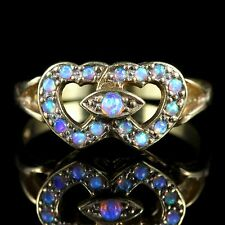 OPAL DOUBLE HEART RING 18CT GOLD SILVER