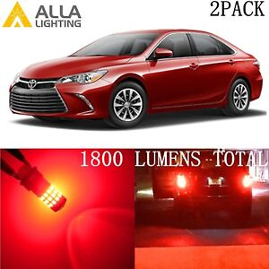 Alla-Lighting-39-SMD-LED-Brake-Stop-Tail-Light-Bulb-7443-Red-Lamp-for-Toyota-2PC
