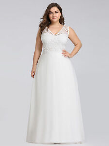 Ever-Pretty Plus Size Cream Wedding Dress Long V Neck Formal ...