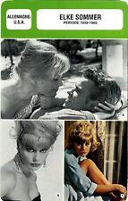 Actress Card. Fiche Cinéma Actrice. Elke Sommer(Allemagne/U.S.A.) 1958-1965