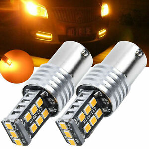 2pcs 1157 Amber BAY15D 15 SMD 2835 LED 12V Car Light Tail Turn signal N-polar