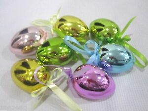 Easter Eggs Shiny Pastel Tree Ornaments Decorations Decor Set of 9
