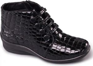 Padders-TANYA-Ladies-Womens-Leather-E-EE-Wide-Fit-Ankle-Boots-Patent-Black-Croc
