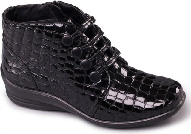 64c83ad785f Padders TANYA Ladies Womens Leather E/EE Wide Fit Ankle Boots Patent Black  Croc